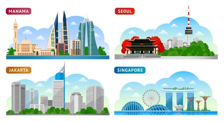 Voyage en Asie. Singapour, Séoul, Jakarta et Manama. Vue panoramique horizontale. Illustration de plat vectorielle Vecteurs