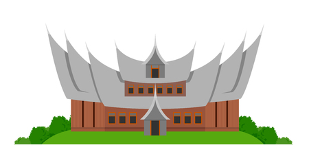 Indonesian traditional house. Vector flat illustration isolated on white background. 일러스트