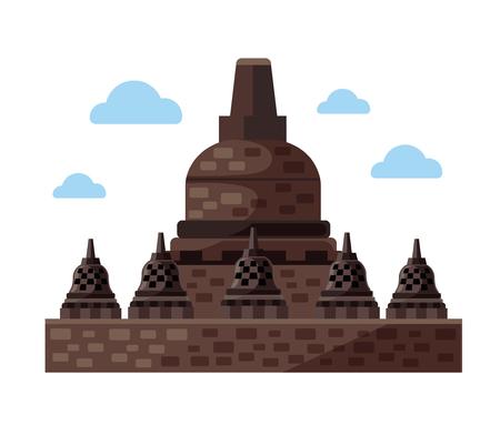 Borobudur flat icon. Indonesia and Java. Vector illustration Illustration