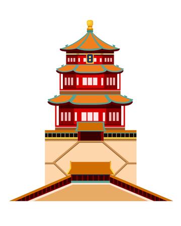 Residenza estiva. Pechino e Cina. Illustrazione vettoriale piatto semplice