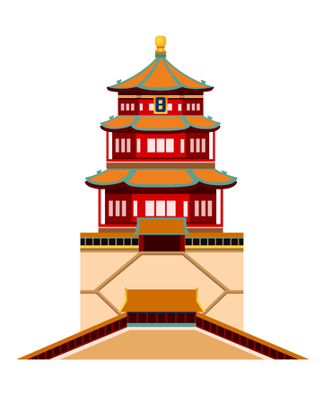 Summer Palace. Beijing and China. Simple flat vector illustration