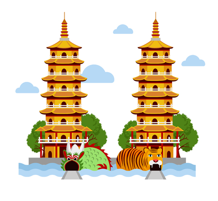 Dragon and Tiger temple at Kaohsiung, Taiwan. Vector flat illustration.