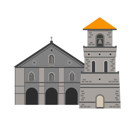 Baclayon Church, Bohol, Philippines. Vector flat illustration isolated on white background.