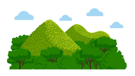 Chocolate Hills in the Philippines. Vector colorful illustration. Vectores