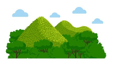 Chocolate Hills nelle Filippine. Illustrazione variopinta di vettore. Vettoriali