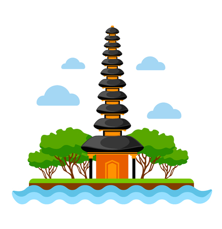 Pura Ulun Danu Beratan temple in Bali. Indonesia. Vector flat illustration. Ilustrace