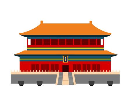 Forbidden City in Beijing, China. Flat cartoon style vector illustration.  イラスト・ベクター素材