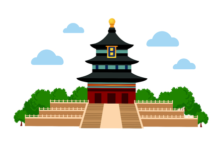 Hall of Prayer for Good Harvests in the Temple of Heaven in Beijing, China. Vector flat illustration.