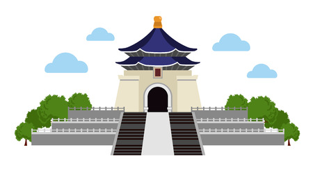 Chiang Kai-shek Memorial Complex. Taiwan. Simple flat vector illustration. Illustration