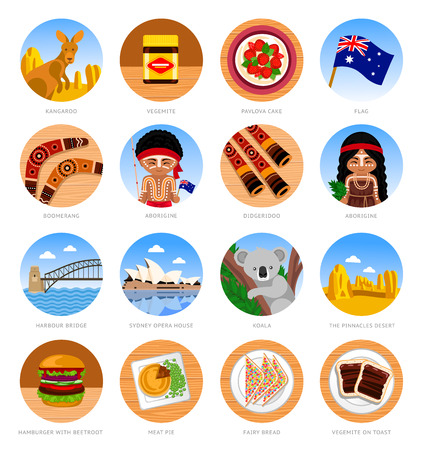 Travel to Australia. Set of traditional cultural symbols, cuisine, architecture. Collection of colorful vector round illustrations for the guidebook.