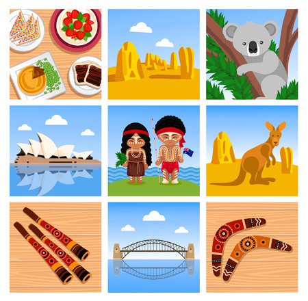 Travel to Australia. Symbols, animals, food, musical instruments, places and people. Set of square vector illustrations Illustration