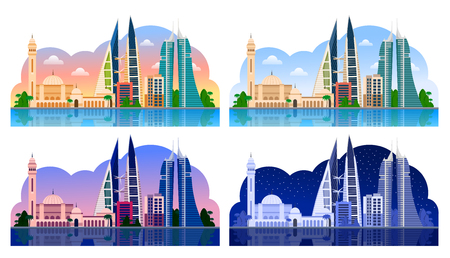 Manama. Bahrain, horizontal panoramic view. Day and night, dawn and sunset. Vector illustration 일러스트