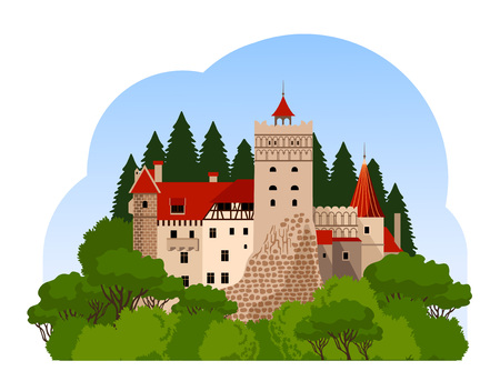 Bran Castle, travel to Transylvania. Flat cartoon style. Vector illustration