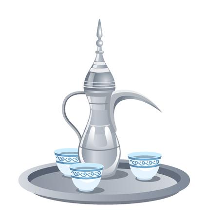 Service à café arabe traditionnel en métal argenté avec dallah, trois tasses.