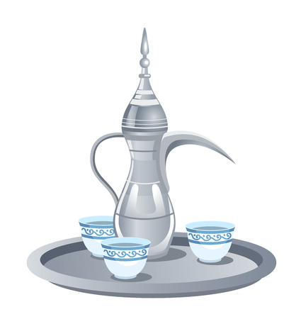 Traditional metal silver arabic coffee set with dallah, three cups.