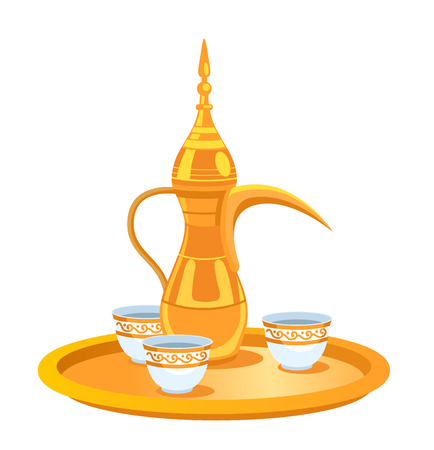 Dallah. Metal pot with a long spout. Traditional arabic coffee mug and coffee cups on gold tray.