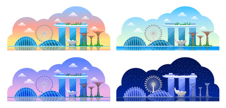 Singapore. Beautiful horizontal panoramic view. Morning, afternoon and day, night and sunrise. Vector flat illustrations  イラスト・ベクター素材