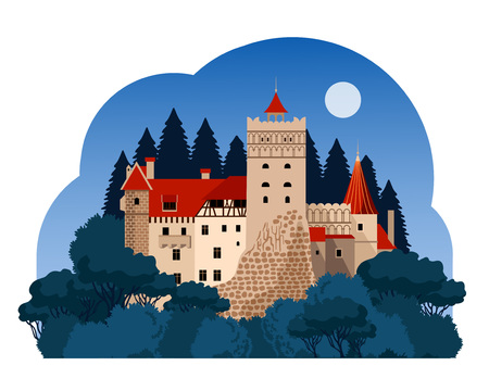 Bran Castle at night. Transylvania. Travel to Romania Ilustracja