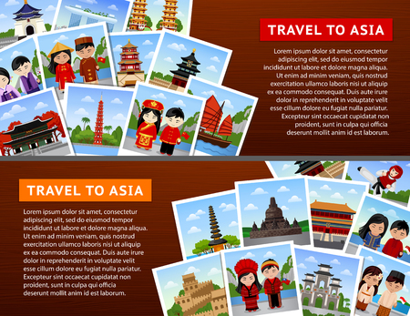 Travel to asian countries. Collage of photos on a dark wooden surface. Horizontal web banners. Vector flat illustration.