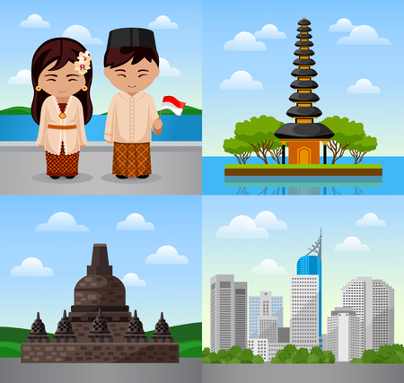 Travel to Indonesia. Bali. Indonesian people in national dress. Woman and man with flag. Cityscape, temple. Square vector illustration. Web banners. Illustration