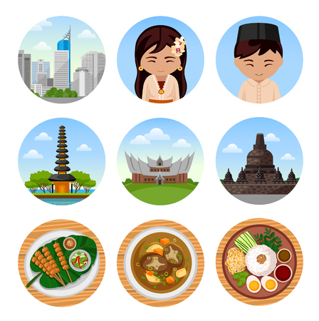 Travel to Indonesia. Bali. Set of traditional cultural symbols, cuisine, architecture. Collection of colorful vector illustrations for the guidebook. Peoples in national dress. Flat round icons.