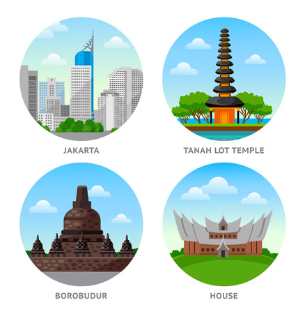 Indonesia Attractions. Set of round vector illustrations.