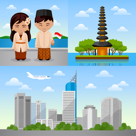 Journey to Indonesia. Set of different banners. Visit to Indonesia. Indonesian people. Bali and Jakarta. Collection of vector illustrations. Çizim