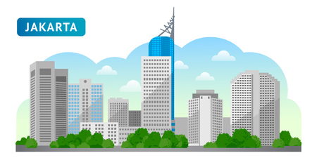 Jakarta. Travel to Indonesia. Beautiful horizontal panoramic view. Morning, afternoon and day, sunrise and dawn. Vector flat illustration Stock Vector - 107140279