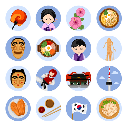 Travel to Korea. Set of vector illustrations. Korean architecture, food, costumes, traditional symbols, people. Collection of flat icons. Guide to Korea.