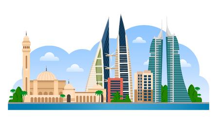 Bahreïn. Skyline de Manama avec des bâtiments colorés et un ciel bleu. Illustration vectorielle à plat pour la présentation touristique, la bannière, la pancarte ou le web. Vue panoramique sur la ville.