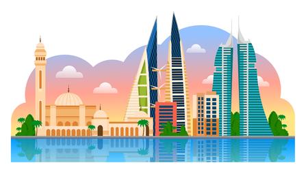 Voyage à Bahreïn. Manama. Modèle de paysage de flyer, magazines, affiches, couverture de livre, bannières et guide. Illustration de plat moderne de vecteur. Vecteurs