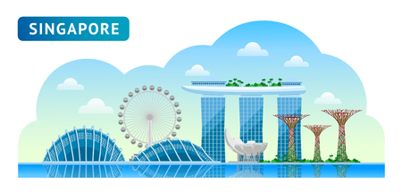 Travel to Singapore. Beautiful horizontal panoramic view. Morning, afternoon and day, sunrise and dawn. Vector flat illustration.