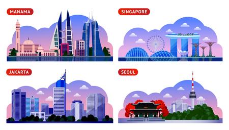 Singapur, Seúl, Yakarta, Manama. Bahréin, Corea del Sur e Indonesia. Vista nocturna panorámica horizontal. Viaja a Asia. Conjunto de ilustración plana vectorial