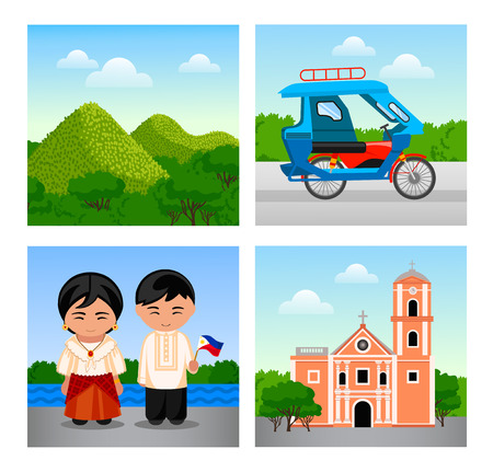 Attractions Philippines. Collection of colorful vector illustrations for the guidebook. Vector flat illustrations.