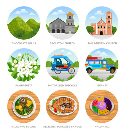Travel to Philippines. Set of traditional cultural symbols, cuisine, architecture. Collection of colorful vector illustrations for the guidebook. Peoples in national dress. Flat round icons.