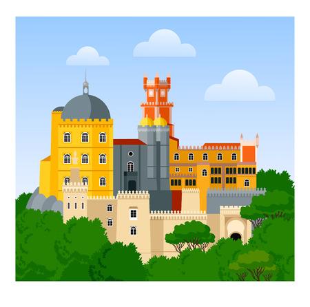 The Pena Palace. Palacio Nacional da Pena. Travel to Portugal. Portuguese attraction. Vector flat illustration.