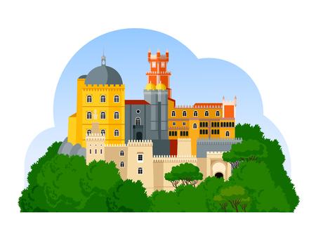 El Palacio de Pena. Palacio Nacional da Pena. Atracción portuguesa. Vector ilustración plana.