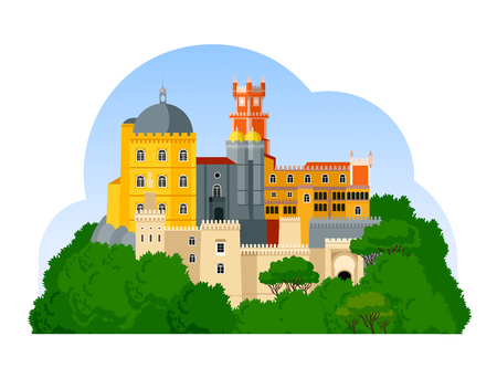 The Pena Palace. Palacio Nacional da Pena. Portuguese attraction. Vector flat illustration. Иллюстрация