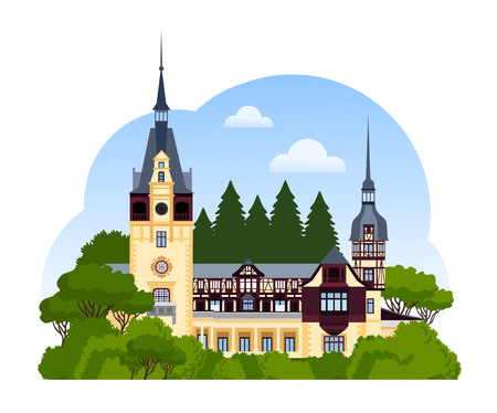 Peles Castle. Travel to Romania. Vector flat illustration