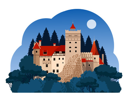 Zamek Bran nocą. Transylwania. Podróż do Rumunii Ilustracje wektorowe