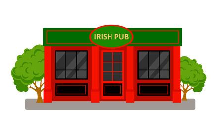 Irish Pub Building. Vector cartoon illustration isolated on white background. Ilustração