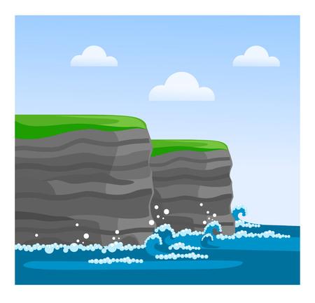 Acantilados de Moher en el condado de Clare. Famosa vista irlandesa. Viaja a Irlanda. Vector ilustración plana. Ilustración de vector