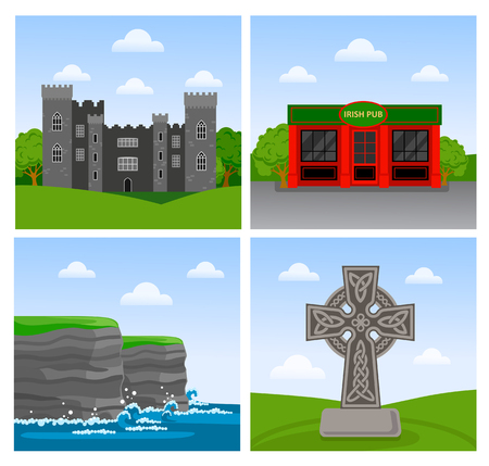 Cliffs of Moher, Malahide castle, irish pub and celtic cross. Travel to Ireland. Set of vector flat illustration. Vettoriali
