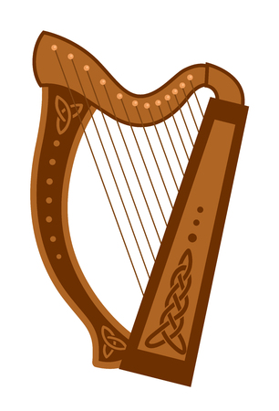 Celtic triangular harp. Folk musical instrument. Vector flat illustration.