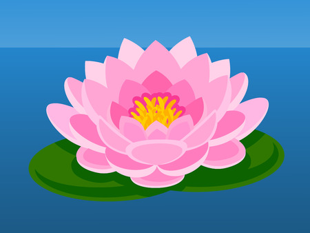 Pink lotus flower. Asian flower. Vector flat illustration Illustration