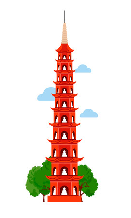 Tran Quoc Pagoda. Hanoi West Lake, Vietnam, Southeast Asia. Vector flat illustration