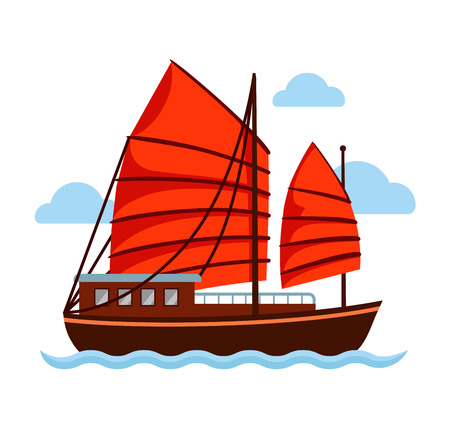 Junk boat with red sail. Vector flat illustration.