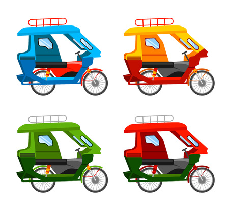 Tuk-Tuk und motorisiertes Dreirad, Transport. Flache Vektorgrafik