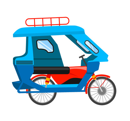 Motorized tricycle. Asian transport. Vector flat illustration