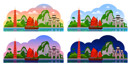 Vietnam. Horizontal panoramic view. Night, day, evening and dawn, afternoon and morning. City skyline. Vector flat illustrations